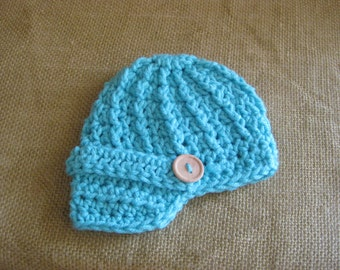 Crochet Baby Hat Newsboy Turquoise Blue  Girl Boy Photo Prop Wood Button
