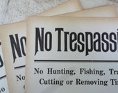 Antique Sign, Ephemera, 1920s, Heavy Cardboard, No Trespassing Sign, Hunting, Fishing, Cabin, Lodge Decor, Man Cave, All Vintage Man