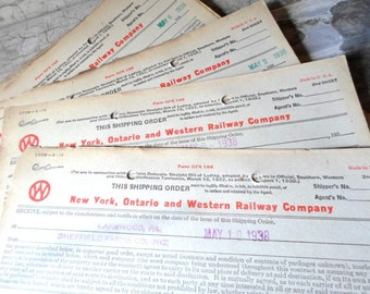 Railroad, RR, Old Paper, Ephemera, NY, Ontario, Western Railway, Shipping Orders, Landing Bills, Dairy, 1938, 5 Pcs, Props, All Vintage Man
