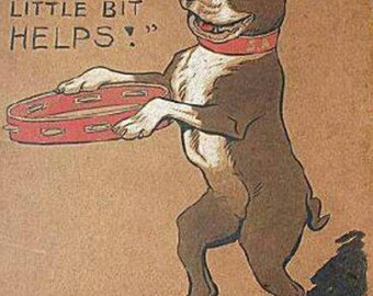 Vintage Every Little Bit Helps Boston Terrier Print Decoupaged On Wood