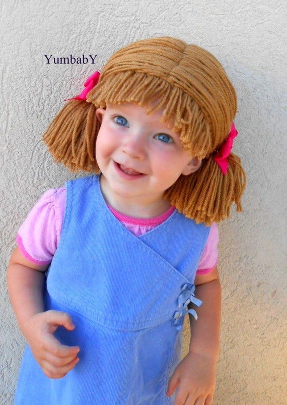 399ee8433e5 Cabbage Patch Wig Brown Pigtail Baby Hat by YumbabY on Etsy