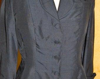 Vintage Couture Hand Made Dark Navy Silk Blazer/Jacket (S/M)