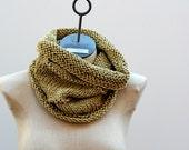 Ready to Ship The Honey Wheat Cowl Hand Knit Natural Fiber Cotton Linen Silk Hemp Neck Warmer Infinity Scarf Men Women Burning Man Soft Gold