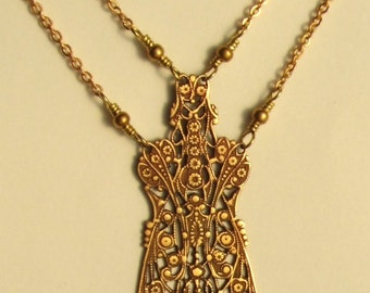Stylized Filigree Insect Flower Necklace--RARE Vintage Deadstock Brass Pendant--Nature--Earth Goddess--Floral Motif--Art Deco Bug