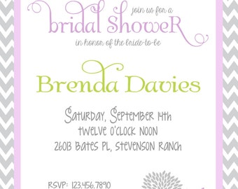Gray Chevron & Lavender Bridal Shower Invitation