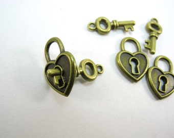 3 Pairs Antique Bronze Lock and Key Charms - 21mm key, 19mm lock