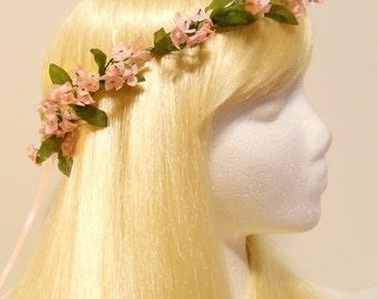 Flower Crown, Head Wreath Light Pink, Small Pastel Flower Weddings Flower Girl Bridal Hair Accessory Halo Garland Spring Summer Garden Nymph