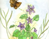 Matted Art Print of Original Watercolor Painting of Violets, Butterfly and Ladybug
