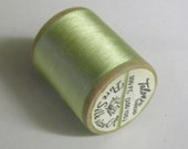 Vintage Talon  Pure Silk Hand Sewing Embroidery Thread 100 Yd. Wooden spool Shade 704 Mint Green/Light Green/Pastel Green