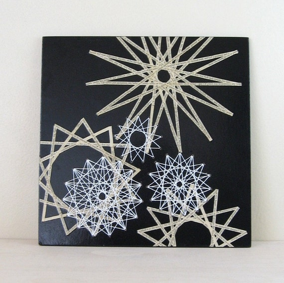 Star Constellation #1 - Book Paper Collage - String Art Stars - 10 x 10 Square - Black and White Art - Geometric Art - Modern Home Decor
