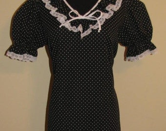 PARTNERS PLEASE // by Malco Modes San Francisco Square Dancing Outfit Suit Black White POLKA Dot M Puffy Bow Ties Top Shirt Blouse