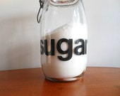 RESERVED for Kim Helvetica retro sugar jar / wire clamp  / typography canister