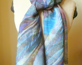 Soft baby blue natural silk scarf, blue, turquoise, brown, purple mix of colors hand dyed, very soft light, gift idea, anniversary birthday