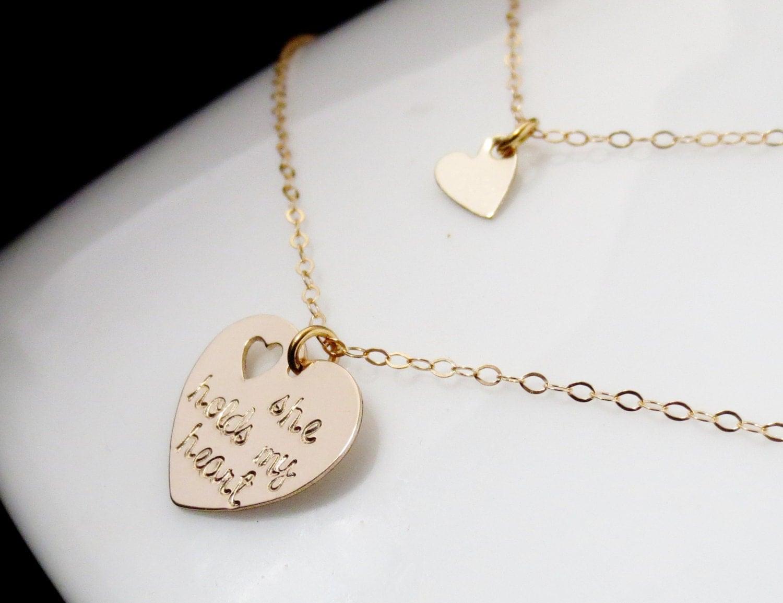 personalized mother daughter gold heart necklaces handstamped. Black Bedroom Furniture Sets. Home Design Ideas