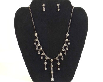 Gunmetal and Rhinestones Necklace and Post Earring Set