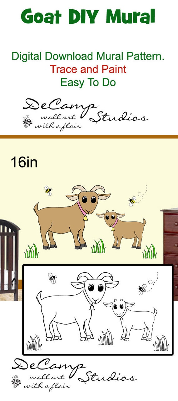 Diy barnyard goat wall art mural pattern digital by for Barnyard wall mural