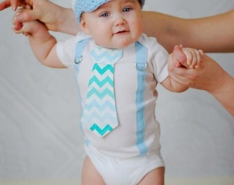 Baby Boy Tie Bodysuit with Suspenders, Aqua and Teal, Easter, Boys Birthday, Blue Chevron