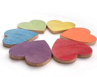 SALE - Big Rainbow Hearts - Color Sorting - Waldorf Eco Friendly Toy - Montessori Preschool Hearts Set of 6