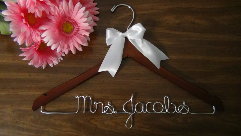 Bridal hanger for wedding dress custom hanger personalized for Wedding dress hangers personalized