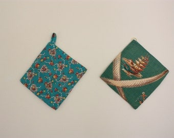 Vintage Mint Green and Teal Quilted Square Set of Two 1950's Kitchen Potholders