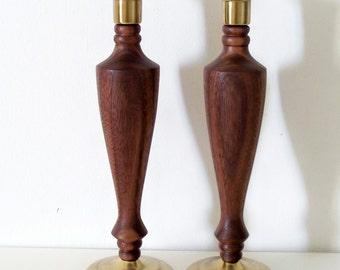 Hand-turned black walnut candlesticks