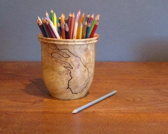 Wood pencil holder, spalted maple wood turning, decorative vase