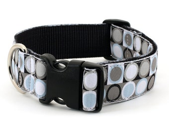 Large Wide - XL dog collar : Mod Dot  Grey, Blue, White and Black