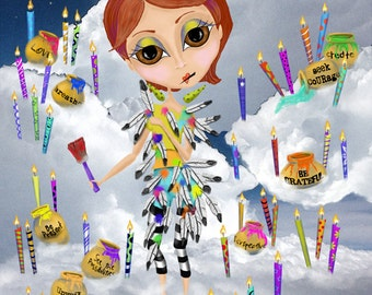 """Title: """"Flight Suit"""". Inspirational and colorful Giclee Art Print. Birthday"""