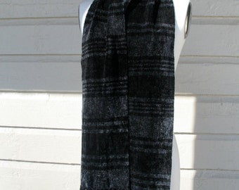 Black and Charcoal Grey Rayon Chenille Scarf