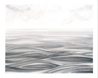 Watercolor Ocean Painting, Original Gray Sea Abstract Seascape, Watercolour Water Painting, Grey Nautical Art,  8X10
