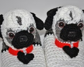 Women's Adult Pug Slippers, Original Unique, Crochet Puppy Dog Slippers