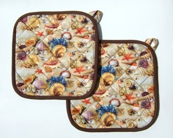Pot Holders, Trivets, Hot Pads, Seashells and Sand- Quilted, reversible, set of 2