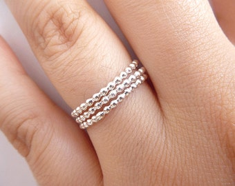 Set of 3 Sterling Silver Beaded Ring - Sterling Silver Stack Ring - Dotted Rings  - Sterling Silver Ring -  Thin Rings