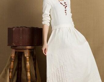 White Wedding Dress, Long Linen Dress With Embroider, Longsleeved Evening Dress