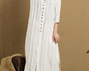 long linen shirt in white, single breasted tunic dress, white blouse - custom