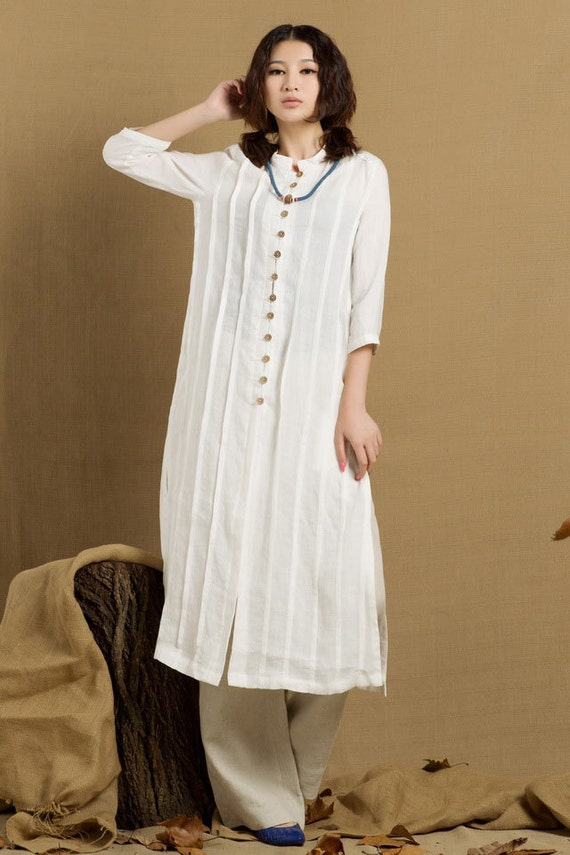Long linen shirt in white single breasted tunic by for Is a tunic a dress or a shirt