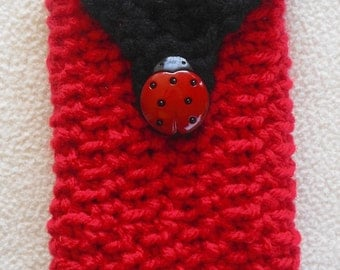 Cell Phone Camera Case Holder Pouch-Red and Black with Ladybug Button