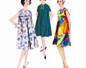 """1962 Tent Dress, Inverted Front Pleat, Top & Pencil Skirt, For Maternity, Upcycle to Fabulous Tent Dress, Simplicity 4991, Bust 31"""""""
