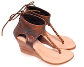 APHRODITE. Brown wedges / leather thong sandals / leather wedges / leather sandals / leather high heels / leather heels. Sizes: US 4-13