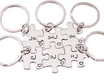 Bridesmaid Gift Puzzle Piece Sets - Engraved Puzzle Piece Key Chain - Wedding - Bridal Party - Bridesmaid Puzzle - Wedding Gifts - 1267