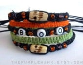 BOO Halloween Bracelet: Stacking, Adjustable, Unisex, Black Hemp