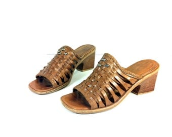 REDUCED~Woven Leather Sandals 7 - High Heel Huarache 7 - Slip On Boho Mules 7