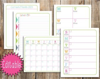 INSTANT - Editable Planner Pages, 8.5x11 Digital file, Printable Bright Planner