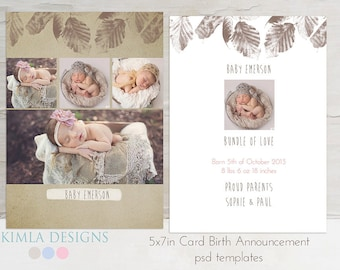 5x7 in Birth Announcement flat card, psd template, Baby Baby, fall set1