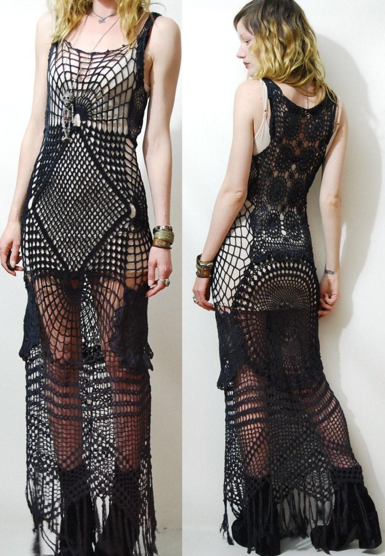 Crochet Dress Black Cobweb Spiderweb Lace Cotton Long Fringe