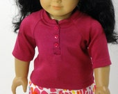 18 Inch Doll Clothes -- Henley Top & Jeans -- 2 Piece Outfit (3-39)