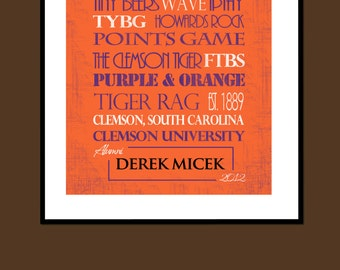 Clemson Tigers Print or Canvas housewarming gift for couple