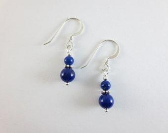 Lovely AAA 4 mm & 6 mm Blue Lapis Lazuli Stacked Bead Earrings - Sterling Silver - 14k Gold Fill - Beaded Earrings - Dangle Earrings