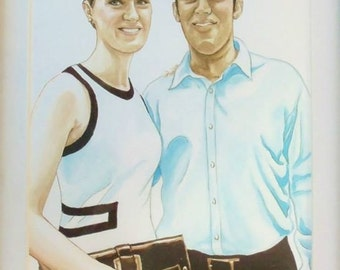 9x12 Custom Watercolor Portrait of a Couple, Wedding, Anniversary, or Friendship Portrait