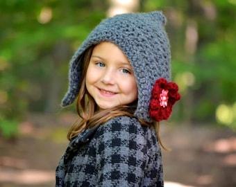 Crochet pixie hood with flower, girls, gray, maroon, hat, winter fashion, women